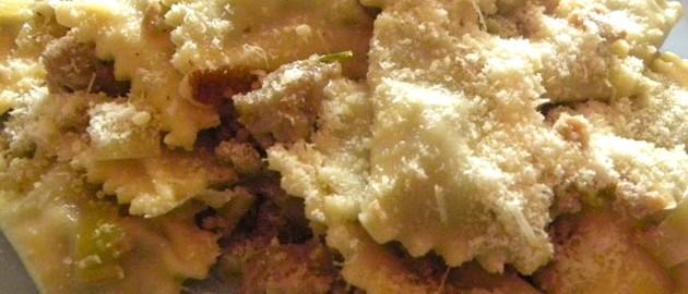 ravioli porri salsiccia